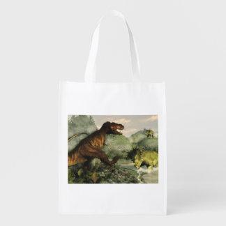 Tyrannosaurus rex fighting against styracosaurus grocery bag