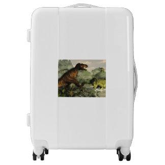 Tyrannosaurus rex fighting against styracosaurus luggage