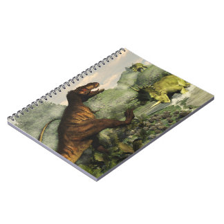 Tyrannosaurus rex fighting against styracosaurus notebook