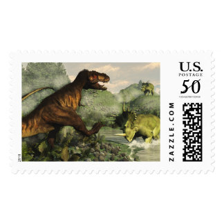 Tyrannosaurus rex fighting against styracosaurus postage