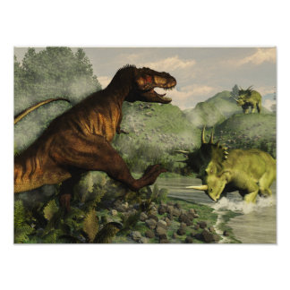 Tyrannosaurus rex fighting against styracosaurus poster