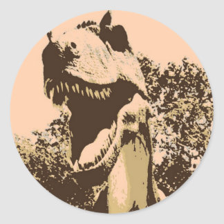 Tyrannosaurus Rex Pop Art Classic Round Sticker