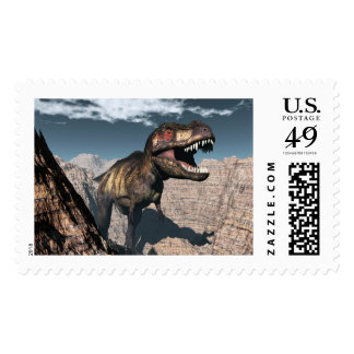 Tyrannosaurus rex roaring in a canyon postage