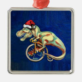 Tyrannosaurus Rex Santa Metal Ornament