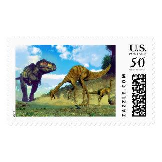 Tyrannosaurus rex surprising gallimimus dinosaurs postage
