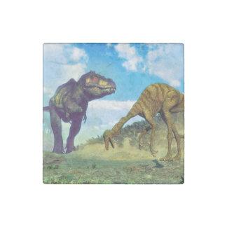 Tyrannosaurus rex surprising gallimimus dinosaurs stone magnet