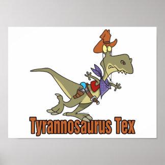 tyrannosaurus rex tex cowboy dinosaur posters