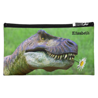 Tyrannosaurus Rex with Flower Cosmetic Bag