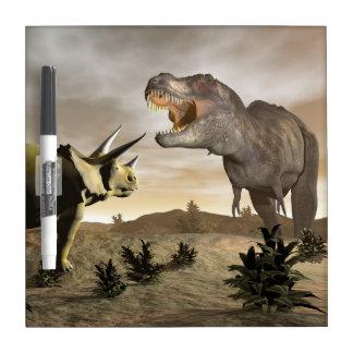 Tyrannosaurus roaring at triceratops - 3D render Dry-Erase Board