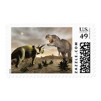 Tyrannosaurus roaring at triceratops - 3D render Postage
