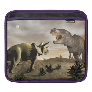 Tyrannosaurus roaring at triceratops - 3D render Sleeve For iPads