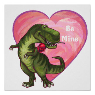 Tyrannosaurus Valentine's Day Poster