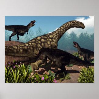 Tyrannotitan attacking an argentinosaurus dinosaur poster