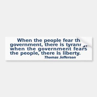 Tyranny / Liberty:  Politics Bumper Sticker Car Bumper Sticker