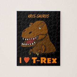 Tyrannosaurus Rex T-Rex Dinosaur Custom Name Puzzle