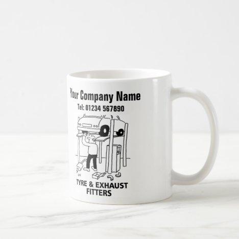 Tyre & Exhaust Fitters Cartoon Mug