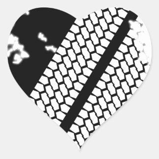 Tyre Tread Grunge Heart Sticker