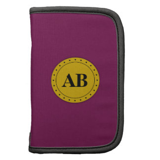 Tyrian purple solid color with monogram folio planner