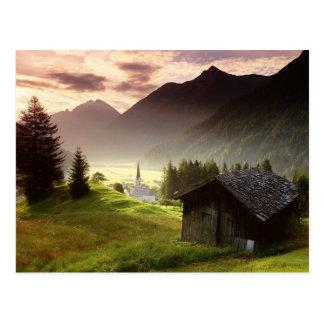 Tyrol Austria Misty Mountain Village Post Card