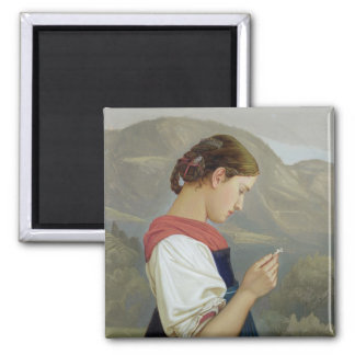 Tyrolean Girl Contemplating a Crucifix, 1865 2 Inch Square Magnet