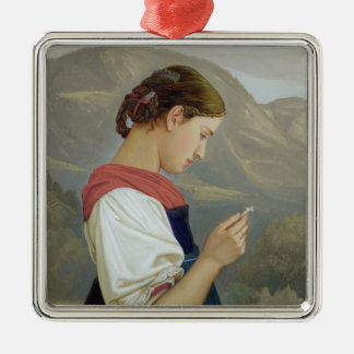 Tyrolean Girl Contemplating a Crucifix, 1865 Metal Ornament