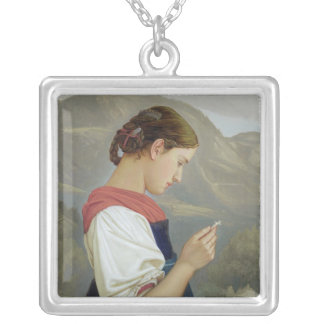 Tyrolean Girl Contemplating a Crucifix, 1865 Personalized Necklace