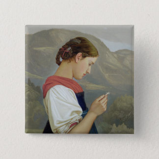 Tyrolean Girl Contemplating a Crucifix, 1865 Pinback Button