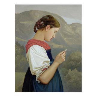 Tyrolean Girl Contemplating a Crucifix, 1865 Postcard