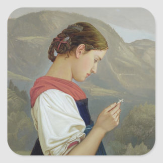 Tyrolean Girl Contemplating a Crucifix, 1865 Square Sticker