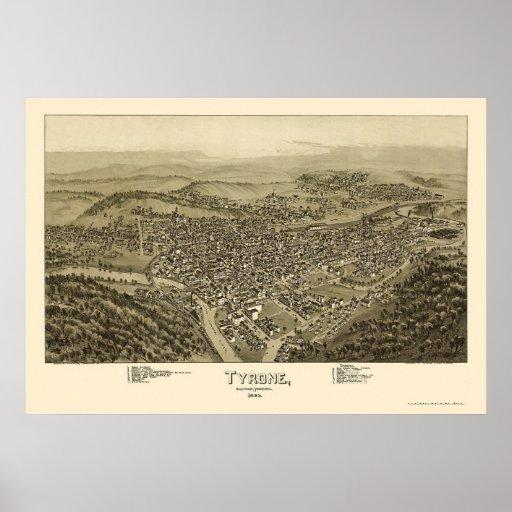 Tyrone, mapa panorámico del PA - 1895 Póster