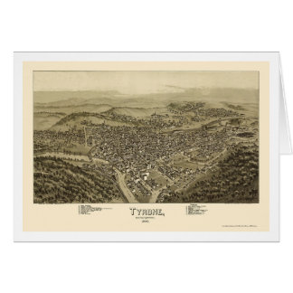 Tyrone, mapa panorámico del PA - 1895 Tarjeton