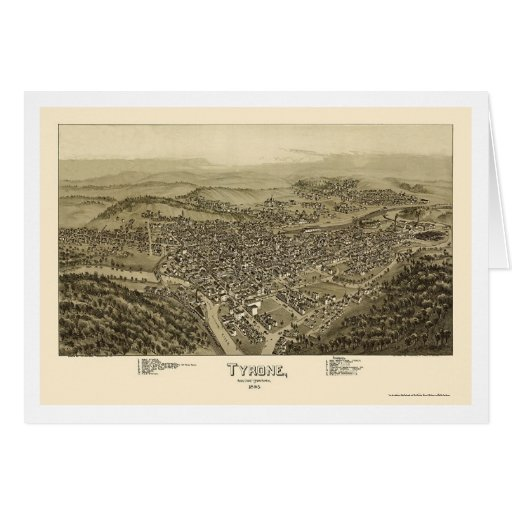 Tyrone, PA Panoramic Map - 1895 Cards