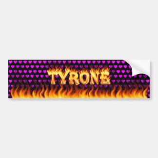 Tyrone real fire and flames bumper sticker design. car bumper sticker
