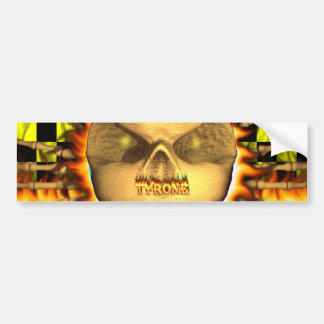 Tyrone skull real fire and flames bumper sticker d