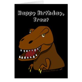 Tyrranosaurus Rex embroma nombre del personalizado Tarjeta De Felicitación