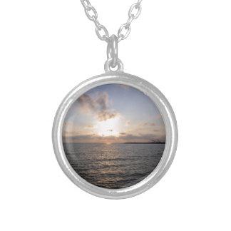 Tyrrhenian Sea, sunset Silver Plated Necklace