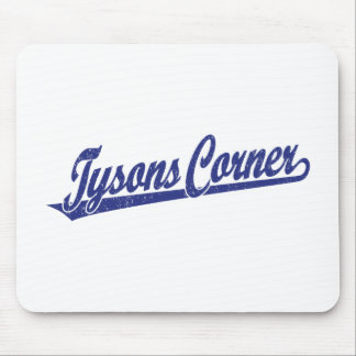 Tysons Corner script logo in blue distressed Mouse Pad