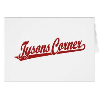 Tysons Corner script logo in red Card
