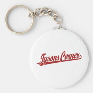 Tysons Corner script logo in red Keychain
