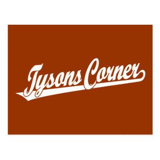 Tysons Corner script logo in white Postcard