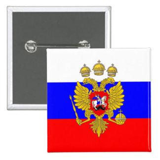 Tzar de Muscovia, bandera de Rusia Pin Cuadrado