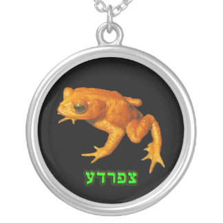 Tzfardea, Meaning Frog, In Hebrew Round Pendant Necklace