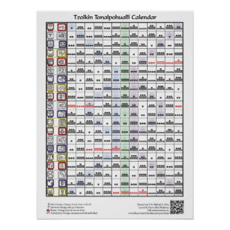 Tzolkin Toalpohualli Calendar (with key) Print