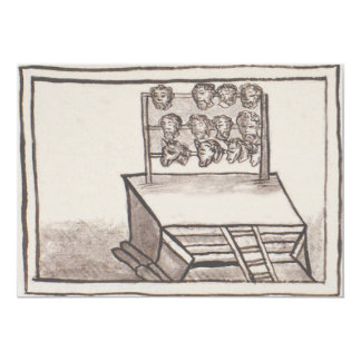 Tzompantli Skull Rack Florentine Codex 5x7 Paper Invitation Card