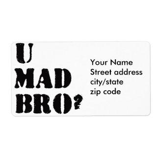 ¿U Bro enojado? Etiquetas De Envío