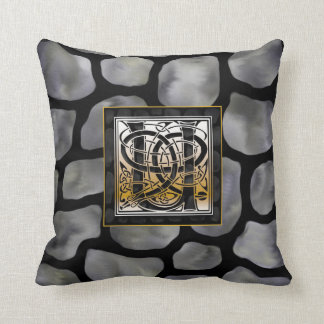 'U' Celtic Black Stone Monogram Throw Pillows