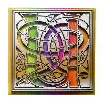 U Celtic Rainbow Custom Monogram Tile