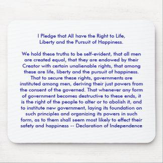 ¡ U crea Declaración de Independencia Alfombrillas De Ratón
