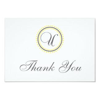 U Dot Circle Monogam Thank You Cards (Yellow/Gray)