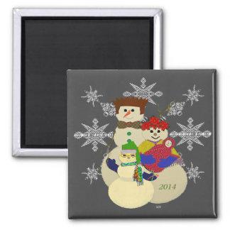 U escoge navidad del 2do bebé del muñeco de nieve imán cuadrado